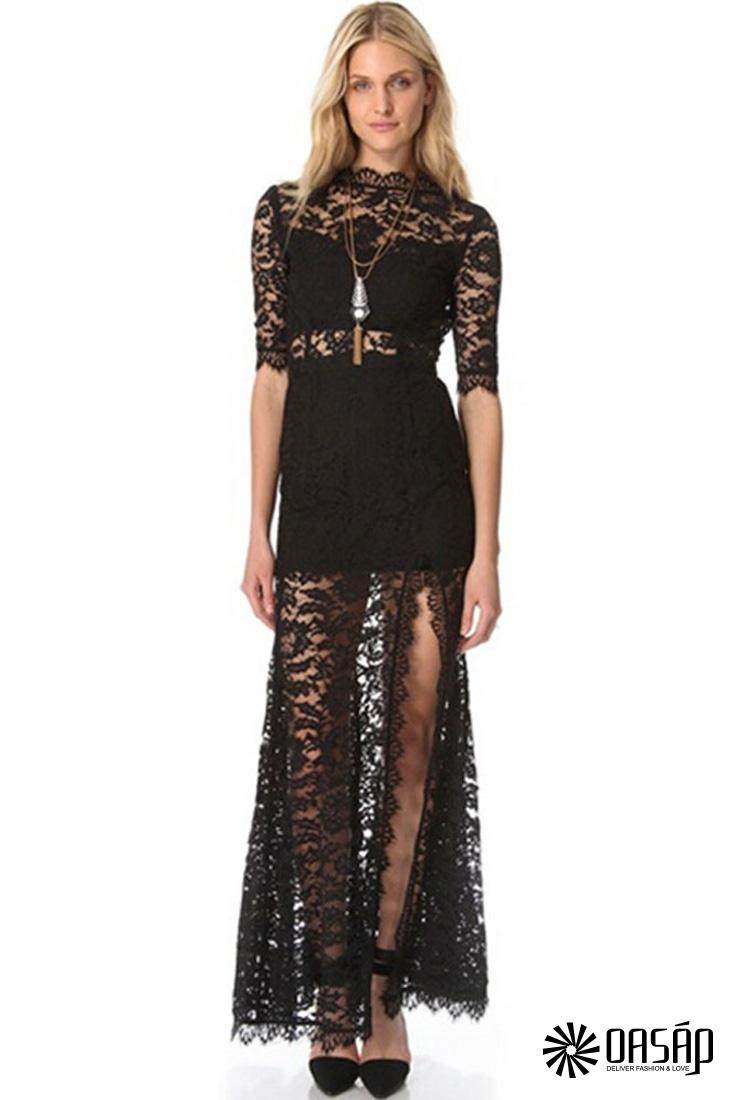 Black High V Back Lace Over Maxi Dress
